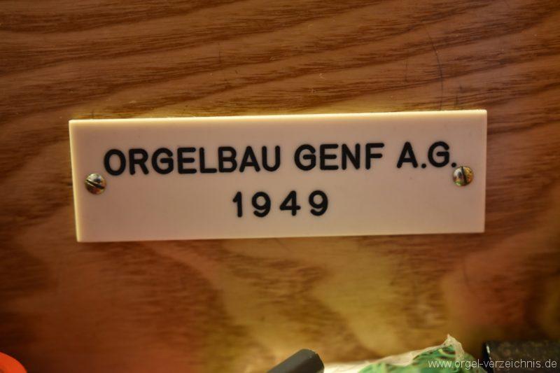 Hergiswil NW Reformierte Kirche Firmenschild Genf Erni Orgel I