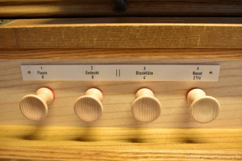 Hergiswil NW Reformierte Kirche Registerstaffel Genf Erni Orgel II