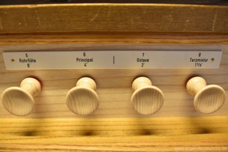 Hergiswil NW Reformierte Kirche Registerstaffel Genf Erni Orgel III