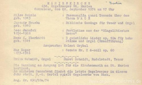 St. Marien - Marienkirche - Programm 1974 - Orgel - Britta Schmidt essbach