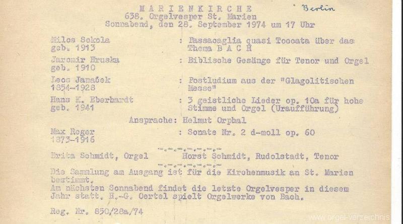 St. Marien - Marienkirche - Programm 1974 - Orgel - Britta Schmid Essbach