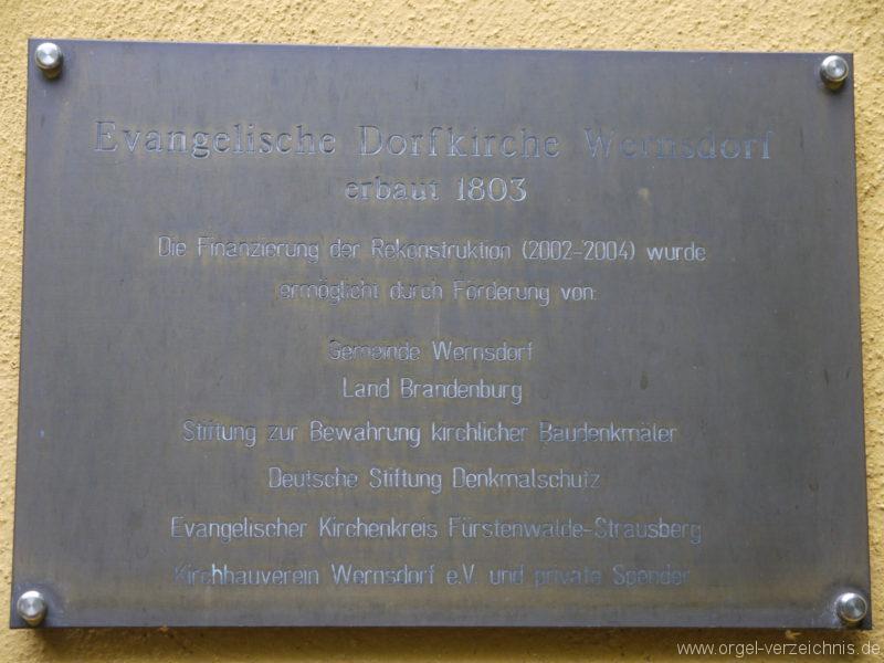 Königs Wusterhausen Dorfkirche Wernsdorf Kirchentafel