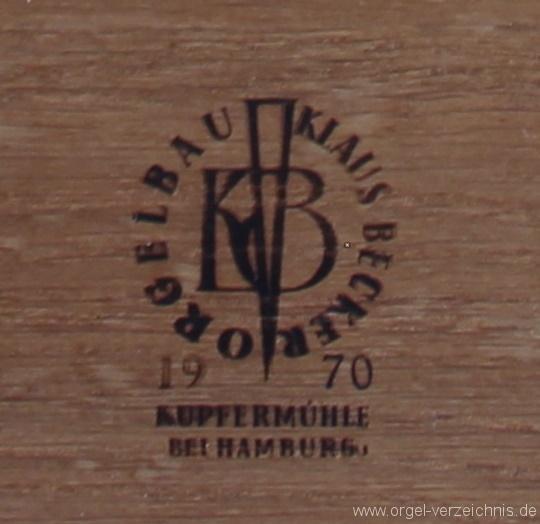 Loose - Firmenschild an der Orgel