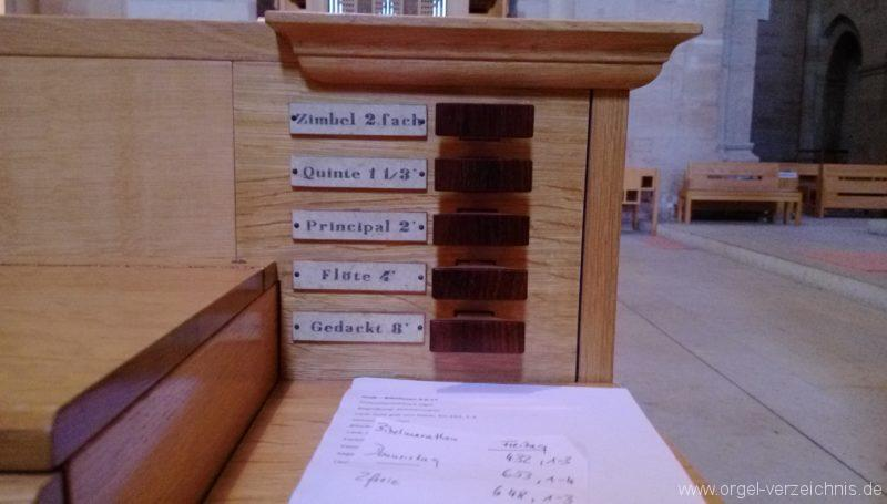 Otterberg ehem Abteikirche Truhenorgel Registerstaffel
