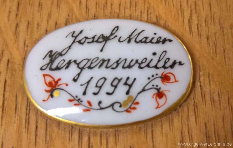 München Nymphenburg Christkönig Truhenorgel Firmenschild I