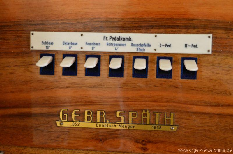 Albstadt Margrethausen St. Margareta Registerstaffel Pedalkombination I