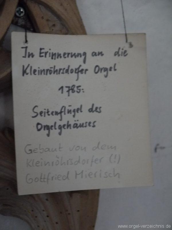 Kleinröhrsdorf Dorfkirche Orgel Hinweis I