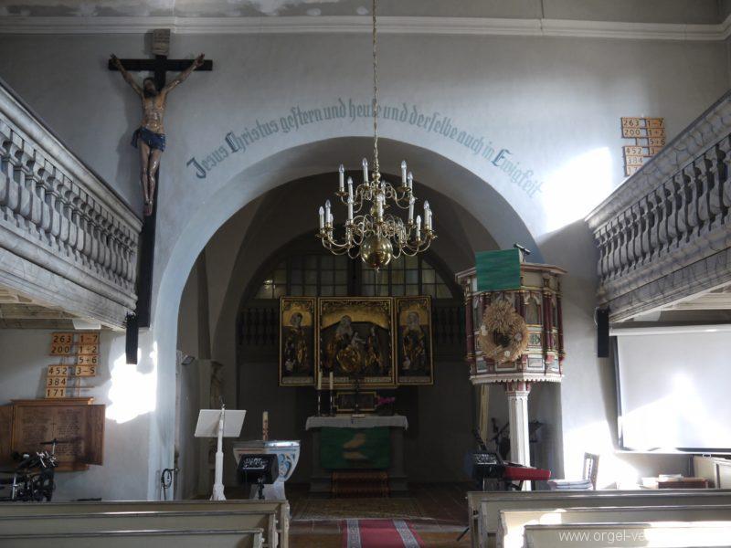 Wildenfels Härtensdorf Dorfkirche Zud en drei Marien Innenansicht II