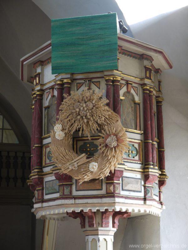Wildenfels Härtensdorf Dorfkirche Zud en drei Marien Kanzel I